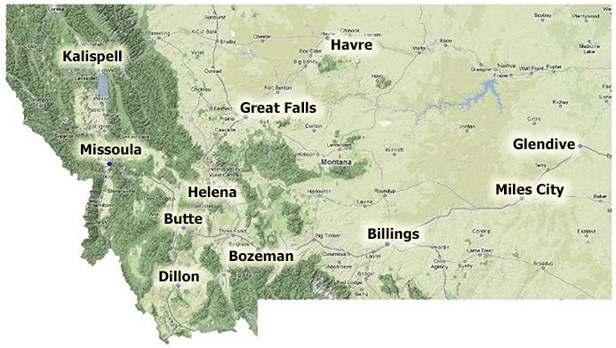 Map of Montana Colleges and Universities
